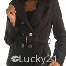 Double-Brested Ladies Posh Flannel Peacoat Jacket (Small)