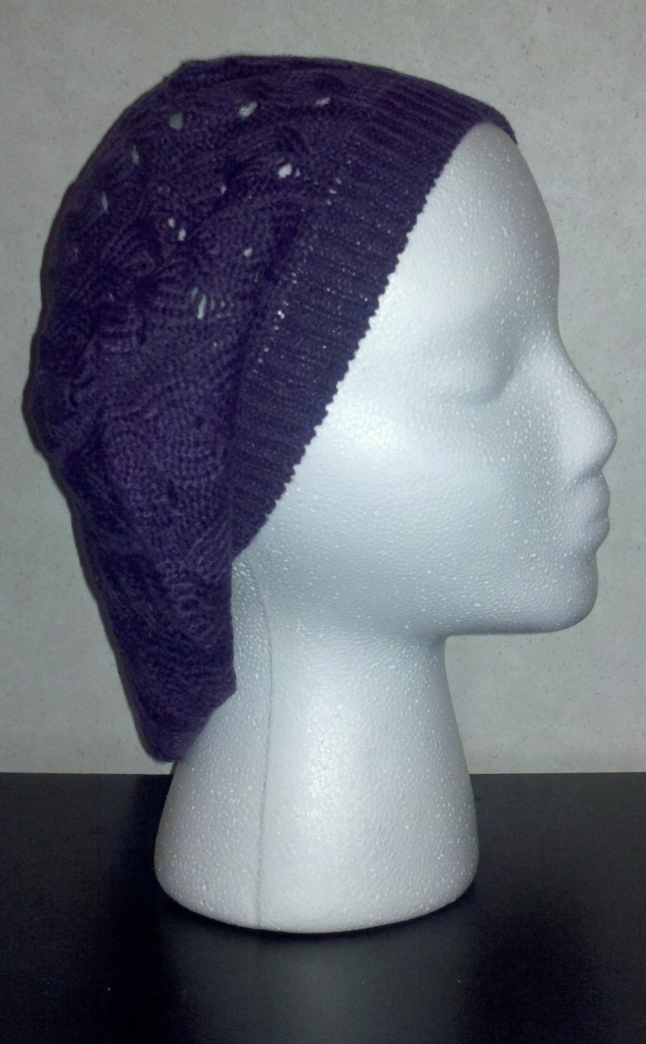 Purple Knit Beanie Hat