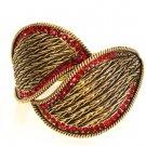 Gold leaf design metal bangle bracelet
