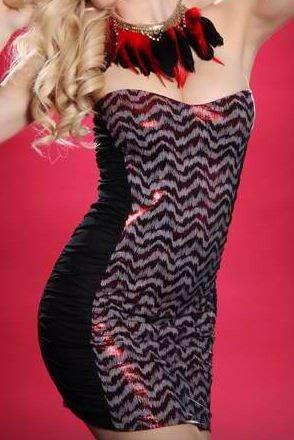 RED BLACK SEXY STRAPLESS FOIL ANIMAL PRINT MESH SIDES MINI DRESS (large)