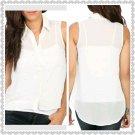 Ivory Rhinestone High-Low Shirt (large)