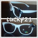 White Black BOW RETRO CLEAR LENS GLASSES