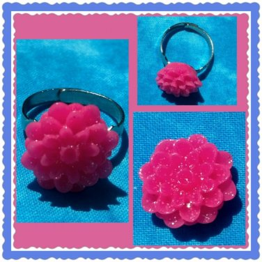 Handmade pink floral ring
