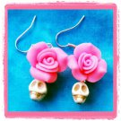 Handmade howlite skulls and roses earrings