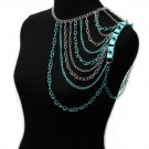 SHOULDER CHAINS, DRAPE, CHAIN, SPIKE IN TURQUOISE RHODIU