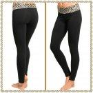 Fold Brown Leopard waist yoga pant (medium)