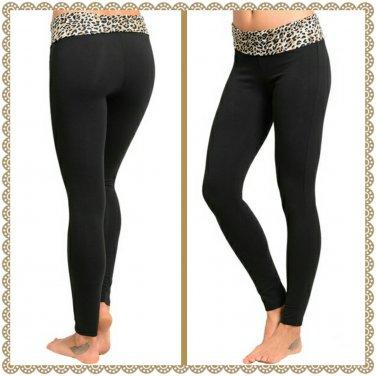 Fold Brown Leopard waist yoga pant (small)