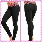 Fold Pink Leopard waist yoga pant (large)