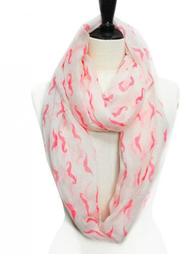 White Lime Mustache Print Infinity Scarf