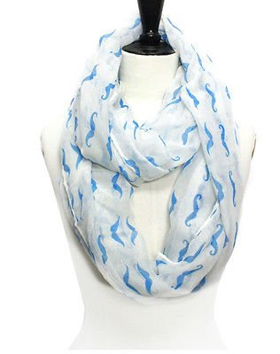 White Blue Mustache Print Infinity Scarf