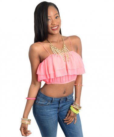 Neon Pink Sphagetti Strap Wavy Crop Top (large)