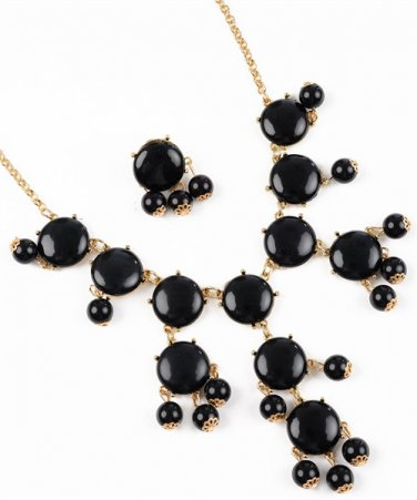 Black Bubble Bib Statement Necklace
