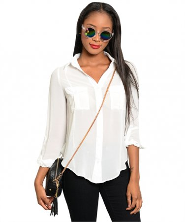 White Cut out Back High low Top (large)