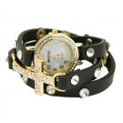 Cross Wrap Watch (Black)