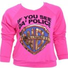 Pink If You See Da' Police Warn A Brother Sweatshirt (2XL)