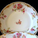 3 Haviland GDA Limoges Roses & Gold Dinner Plates