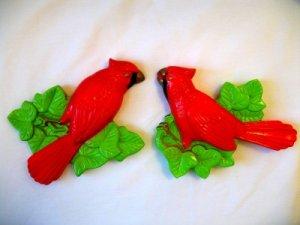 Vintage Miller Chalkware Wall Plaques Red Cardinal Bird