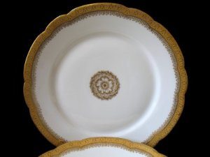 Pouyat Limoges Gold Encrusted Medallion Luncheon Plate