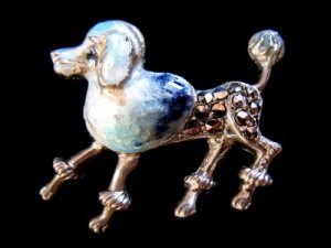 Vtg Sterling Enamel Marcasite Brooch Poodle Dog Germany
