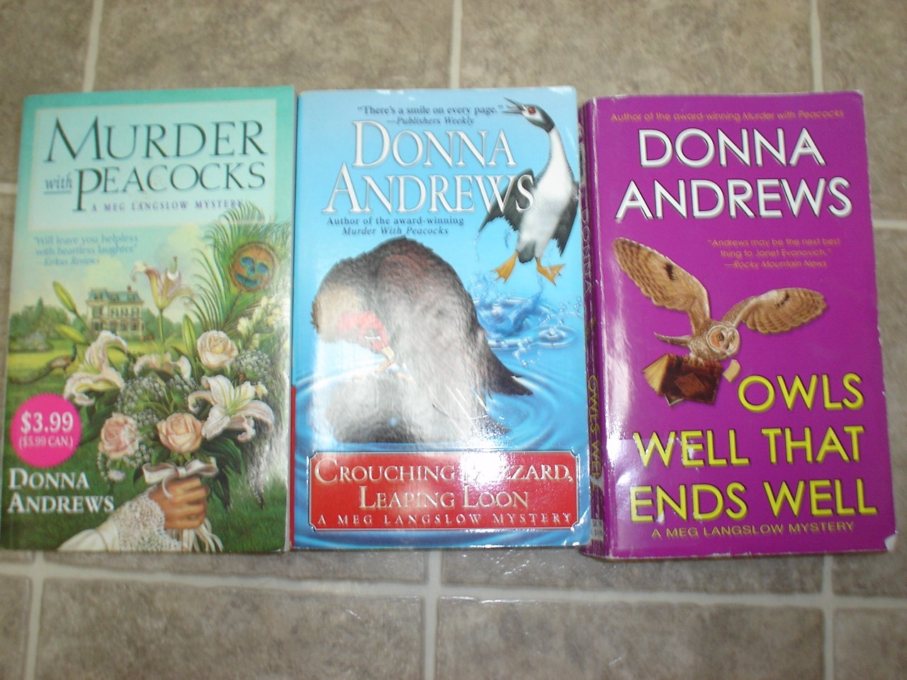 Donna Andrews lot of 3 pb mystery books cozy Meg Lanslow
