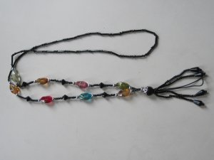NEW Cell Phone / ID holder neck straps (Black color beading strap with Multi-color BEADS)