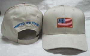 NEW USA AMERICAN FLAG MEN WOMEN BASEBALL CAP, ONE SIZE, LIGHT KHAKI