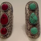 Knuckle Armor Turquoise OR Red Three Stone Ring