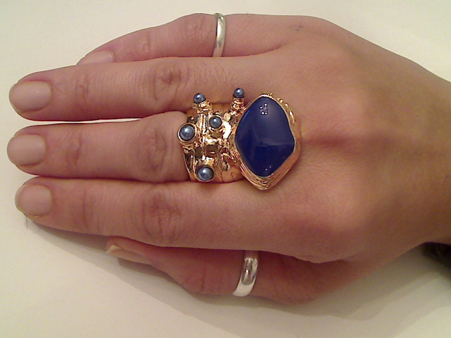 BLUE ARTY CHUNKY SPIKEY  KNUCKLE RING IN GOLD