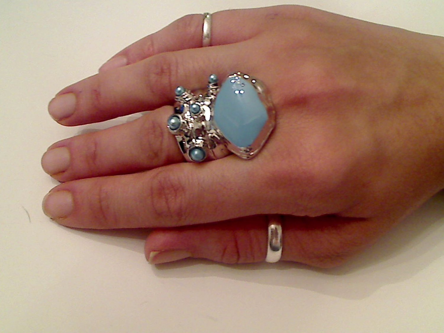 BABY BLUE ARTY CHUNKY SPIKEY MOON KNUCKLE RING IN SILVER SIZES 7*8*9*10