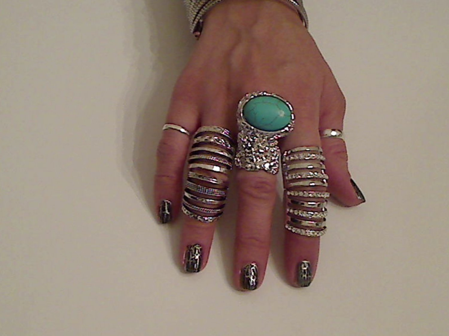 TURQUOISE ARTY CHUNKY MOON KNUCKLE RING IN SILVER SIZES *6*7*8*9