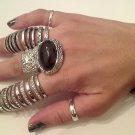 BLACK ARTY CHUNKY MOON KNUCKLE RING IN SILVER SIZES *6*7*8*9