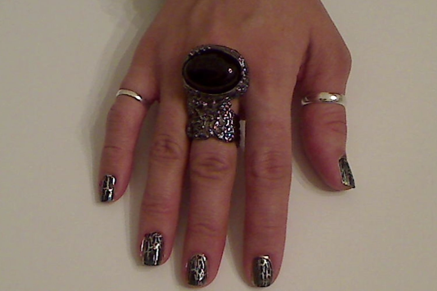 BLACK ARTY CHUNKY MOON KNUCKLE RING IN GUN METAL SIZES *6*7*8*9