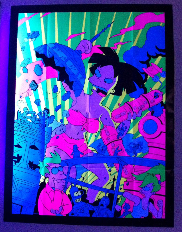 Rare Futurama Mind Bending Black Light Poster Amy