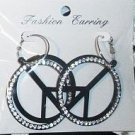 Peace Sign Earrings (Black)