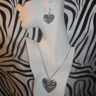 Zebra Print Heart Necklace Set with Matching Earrings
