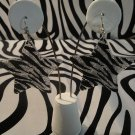 Silver Zebra Print Star Earrings With Matching Studs