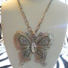 Big Silver Butterfly Necklace