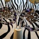 Purple Cheetah Print Circle Earrings
