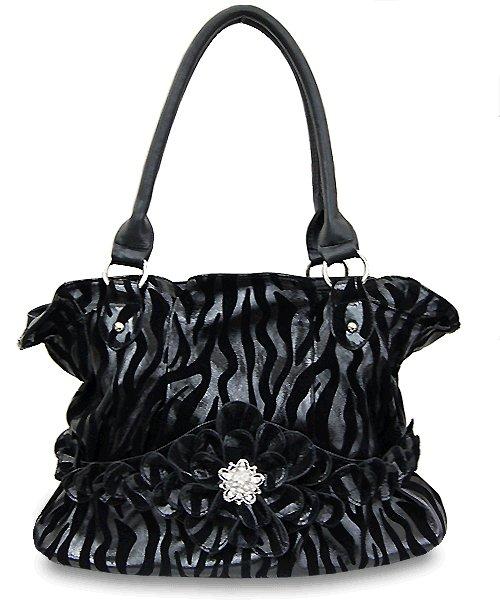 Black On Black Zebra Print Handbag With Flower