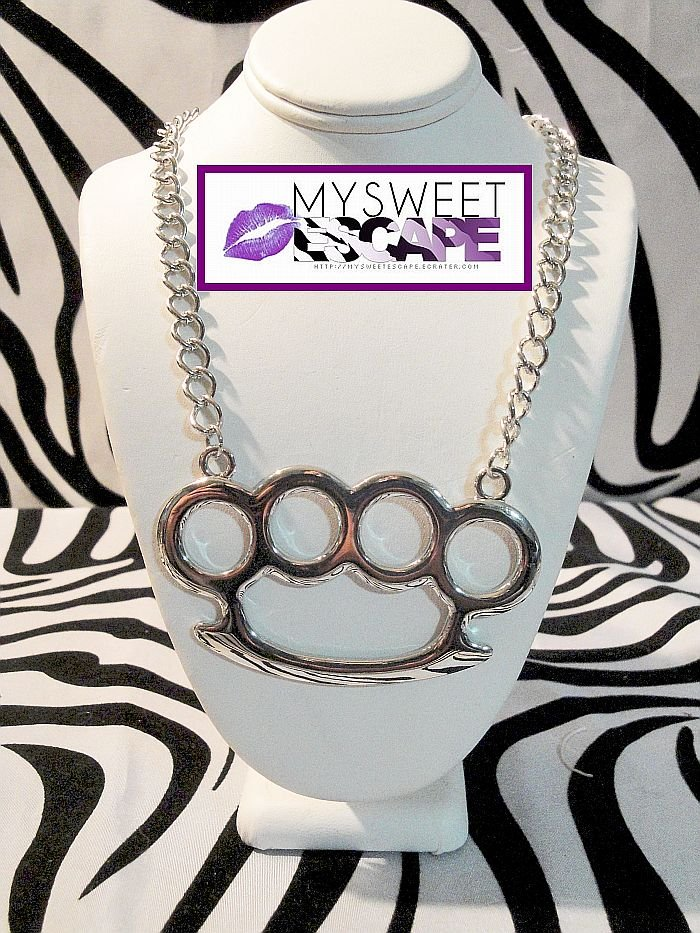 Big Silver Brass Knuckle Necklace