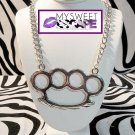 Big Silver Brass Knuckle Necklace