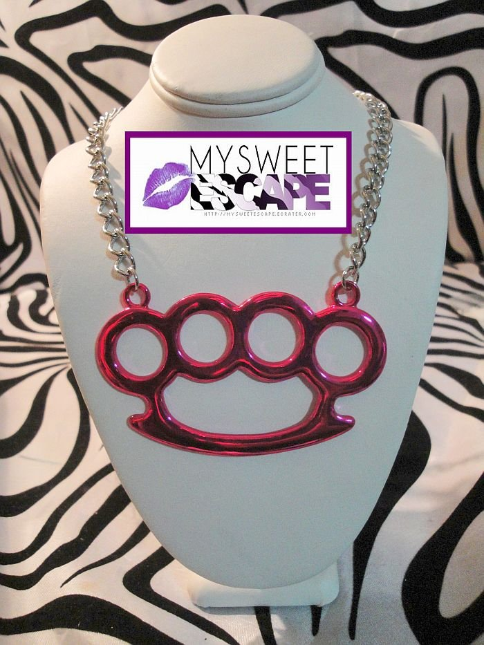 Big Pink Horizontal Brass Knuckle Necklace