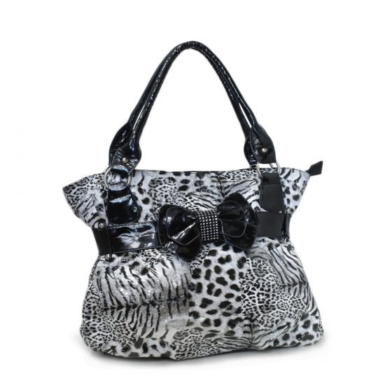 Leopard Print Black & White Handbag