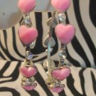 Pink Heart Hoops With Rhinestones