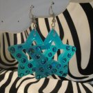 Blue Star Cut Out Earrings With Rhinestones