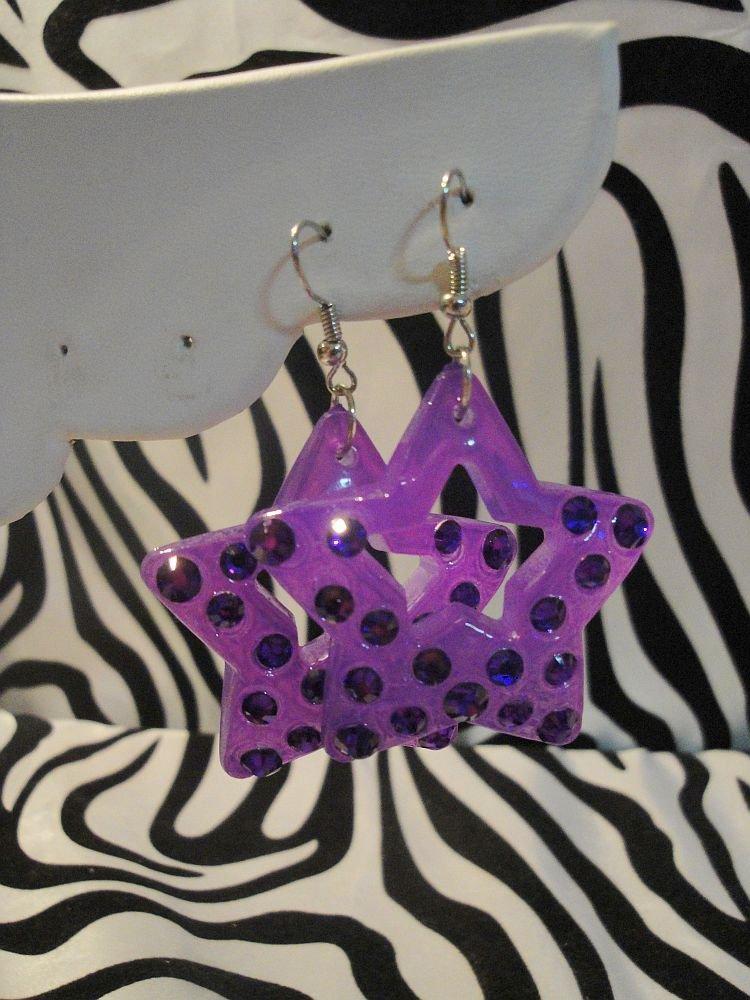 Purple Star Cut Out Rhinestone Earrings