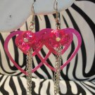 Pink Double Heart Earrings