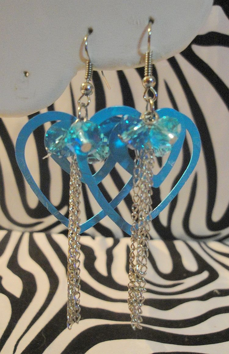 Blue Double Heart Earrings