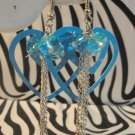 Blue Double Heart Earrings