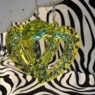 Green Heart Cuttout Rhinestone Earrings